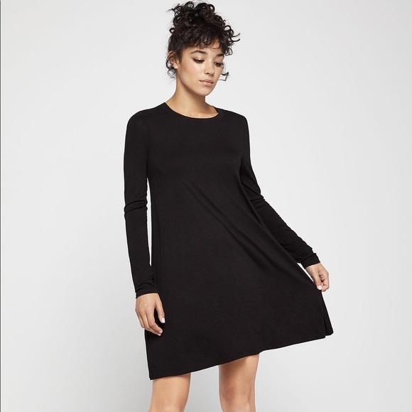 Bcbgmaxazria Dresses Black Long Sleeve Jersey Swing Dress Bcbg